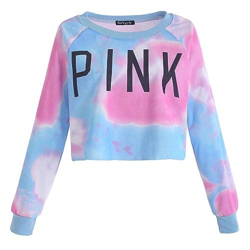 ab96563efe1 Zonars Women s Colorful Tie Dye Pink Letters Print Sweatshirt Free