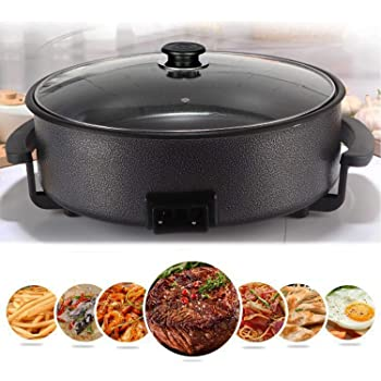 HARISWARUP HS-STORE's Non-Stick Ceramic Electric Multi-Cooker Pan Pizza Maker with Unbreakable Glass Lid (Multicolour)