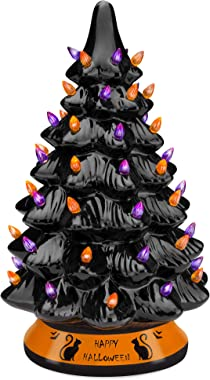 Best Choice Products Pre-Lit 15in Ceramic Halloween Tree Holiday Decoration w/Orange & Purple Bulb Lights