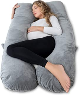 AngQi Pregnancy Pillow U Shaped, Full Body Pillow for Pregnant Women/Side Sleepers, Maternity Pillow with Velvet Cover, Gray