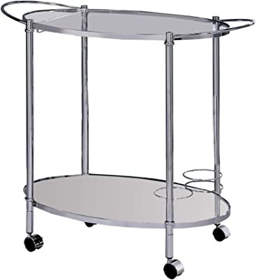 Benjara Benzara Metal and Glass Serving Cart with Casters, Silver