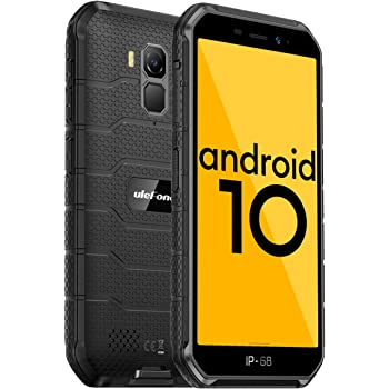 4G Rugged Phones, 2020 Ulefone Armor X7 Pro Android 10 Dual SIM, Rugged Smartphone Unlocked, IP68/69K Waterproof Smartphone, 13MP + 5MP Camera, 4GB + 32GB, NFC, OTG, Face Unlock, Finger Reader - Black
