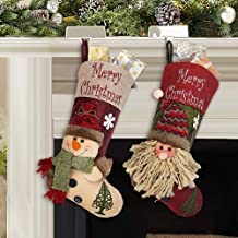 (3D Snow Man/Santa) - Ivenf 2 Pack 46cm Plush 3D Classic Large Christmas Stockings Christmas Party Decoration
