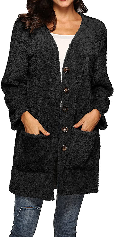 Kanzd Jacksonville Mall Fleece Cardigan for 5 ☆ very popular Women Long Color Sleeve Women's Solid