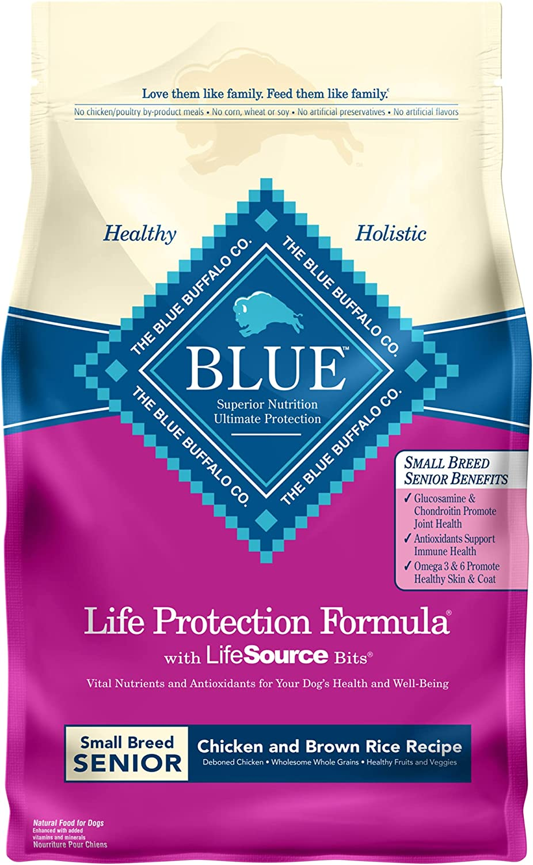 Blue Buffalo Life Protection Formula Natural Senior Small Breed Dry Dog Food, Chicken and Brown Rice