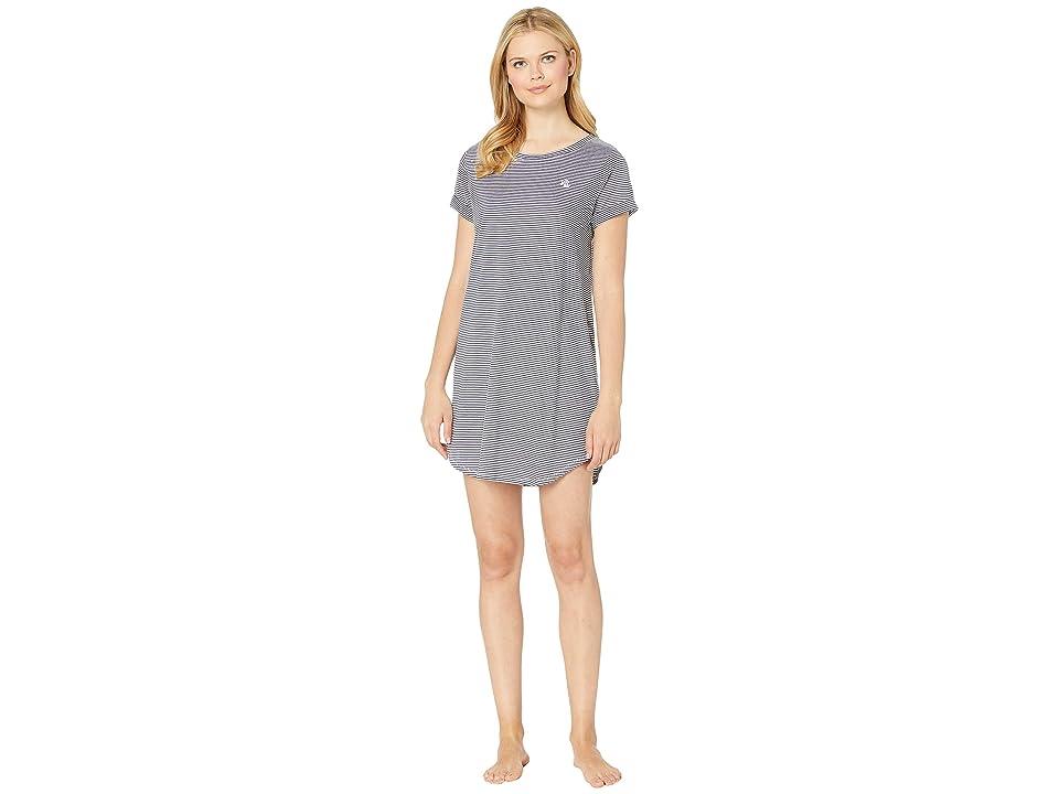 LAUREN Ralph Lauren Roll Cuff Sleepshirt (Blue Stripe) Women