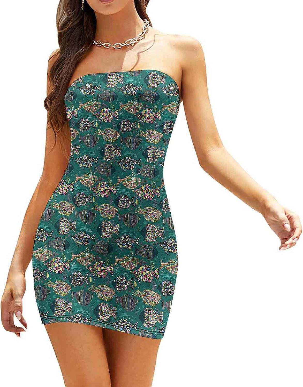 Women's Summer Strapless Dresses Abstract Circles Retro Dresses