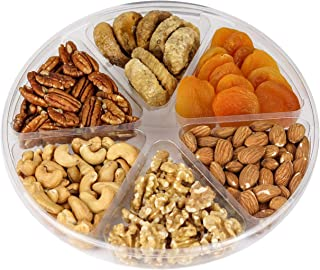 Holiday Fruit and Nuts Gift Basket,Gourmet Food Gift Prime Delivery,Healthy Fresh Gift Idea For Christmas, Thanksgiving, Mothers , Fathers Day, And Birthday(6 Cell Mix Nuts)
