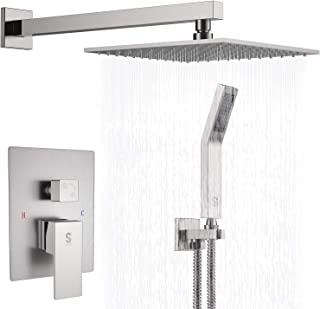 SR SUN RISE Brass Shower System 10 Inch Bathroom Luxury Rain Mixer Shower Combo Set Wall Mounted Rainfall Shower Head Systems Brushed Nickel Finish (Contain Shower Faucet Rough-In Valve Body and Trim)