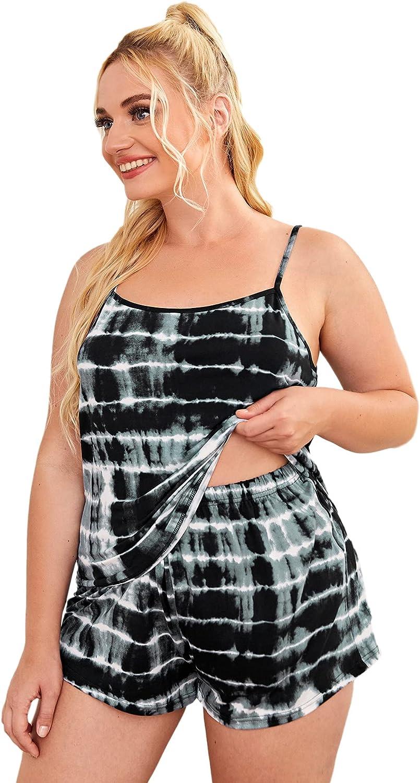 Romwe Women's Plus Size 2 Piece Pajama Set Tie Dye Cami Top and Shorts Pj Set Sleepwear