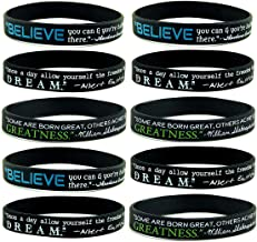 (10-pack) Believe, Dream, Greatness Inspirational Quote Silicone Bracelets - Bulk Pack of Black Silicone Rubber Wristbands w/Famous Motivational Sayings