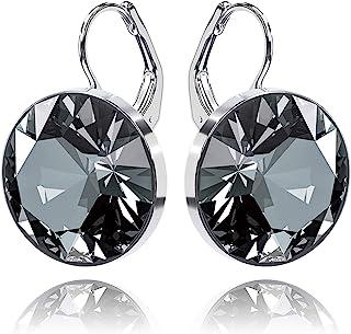 missaqua Swarovski Crystal Earrings for Women Round Leverback Drop Pierced Earrings Jewelry Gifts for Her