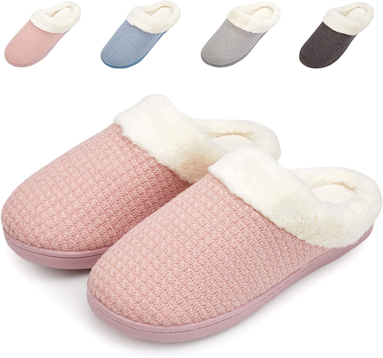 Welltree Women's Warm House Slippers Cotton shoes Memory Foam Lining Indoor Comfort Anti Slip Washable Soft Pink