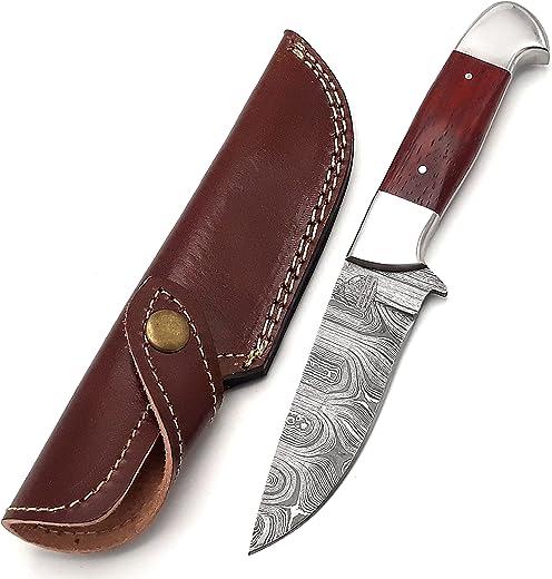 Markhor Outdoors 8.5-inch Handmade Damascus steel hunting knife with sheath Fixed blade knife for Survival, Camping, Bushcraft Ergonomic Padauk wood handle