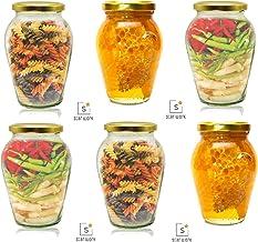 STAR WORK Big Pot Glass Jar for Pickle Dried Masala Grocery Grain Storage (1000 ml, 6)