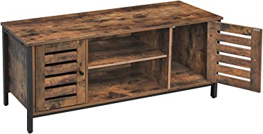 VASAGLE TV Stand for 50 Inches TV, TV Console Table with Storage Shelves, Cabinet with Storage, Louvered Doors, Entertainment