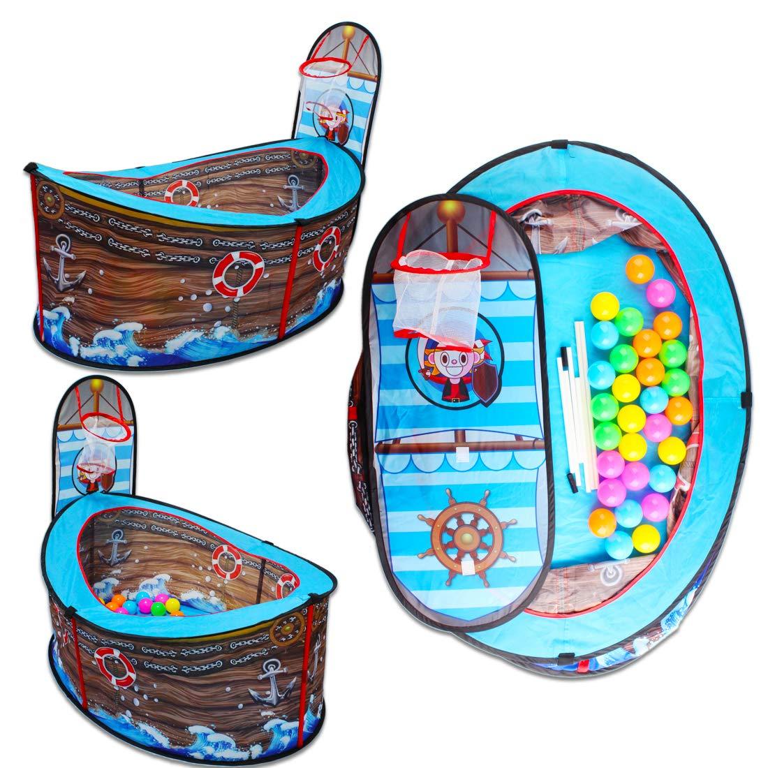 deAO Barco Pirata Tienda de Juegos Piscina de Bolas con Aro de ...