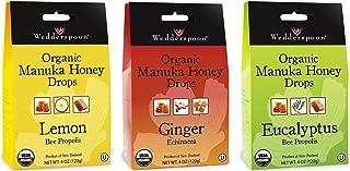 Wedderspoon Organic Gluten-Free Cough Drops 3 Flavor Sampler Bundle, 1 each: Lemon, Eucalyptus, Ginger (4 Ounces)