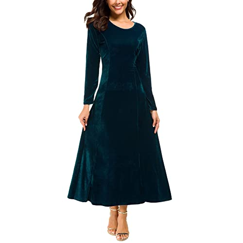 faef187f1caaa Urban CoCo Women s Elegant Long Sleeve Ruched Velvet Stretchy Long Dress
