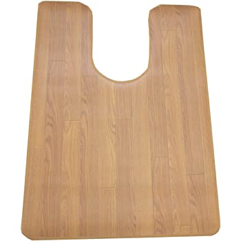 木目調サッと拭けるトイレマット90x60耳長チーク 6267