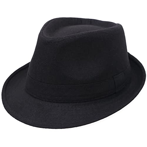 Men s Classic Manhattan Structured Gangster Trilby Fedora Hat 6280486279d