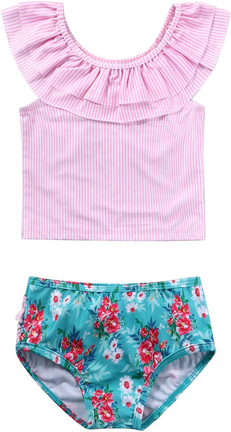 Hansber Infant Baby Girls Ruffles Online limited product Stripe Shirt Max 80% OFF wi Swimsuit Print