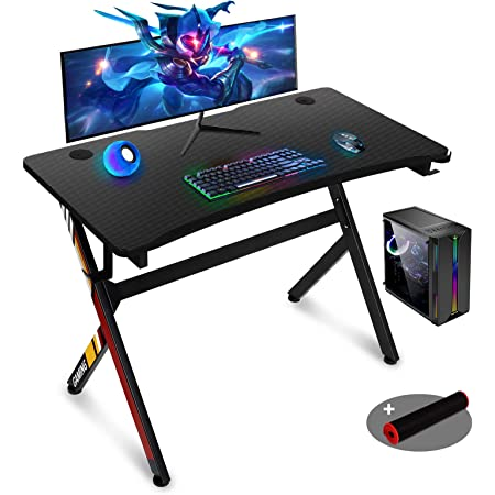 Amazon Com Gaming Desk 45 Inch R Shaped Gaming Table Pc Computer Desk Home Office Desk For Men Women Son Black Kitchen Dining