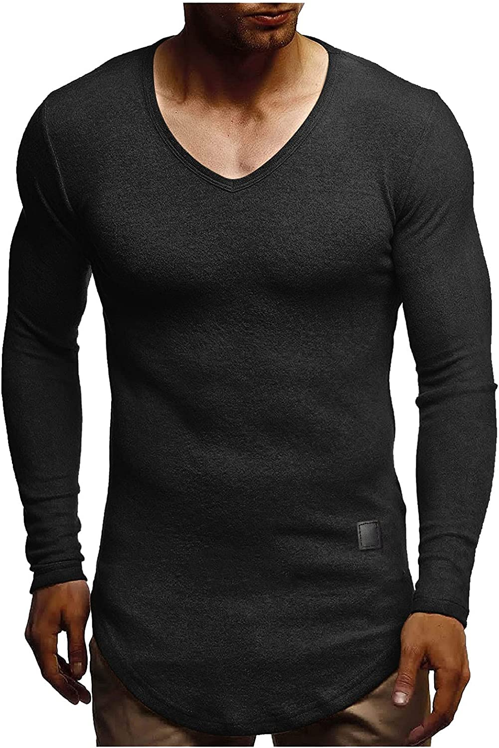 Long Sleeve Polo Shirts for Men Quick Dry, Solid Color Warm Treasure Cotton And Cashmere V-Neck Long-Sleeved Tops Shirt