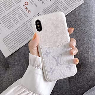 Fashion Elegant Luxury Designer Classic Monogram Vintage Style Card Holder for iPhone Full Protection case for iPhone 6 6S 7 8 Plus X XS XS Max XR (White, iPhone 11 Pro Max)