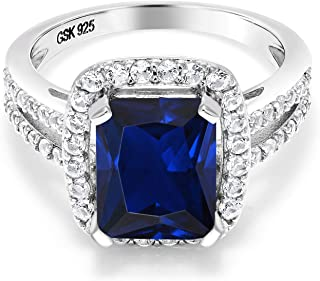 925 Sterling Silver Blue Simulated Sapphire Women's Ring 4.62 Ct Emerald Cut Available in size 5, 6, 7, 8,