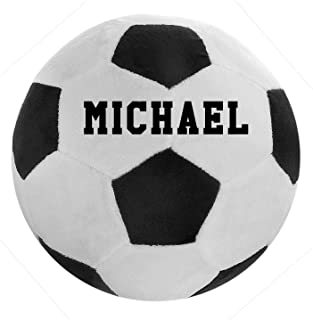 Plush Pillow Fluffy Stuffed Football Personalized Sports Ball Throw Pillow Soft Durable Sports Toy with Custom Name, Birthday for Kids Room Decoration (Soccer)