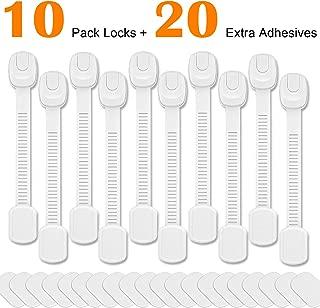 Betertek Cabinet Locks Child Safety Refrigerator Lock Drawer Locks Baby Proof Fridge Lock Kids Safety Latches Strap Locks (10 pack) for Dresser, Toilet Seat, Oven, Dishwasher, with Extra Adhesive