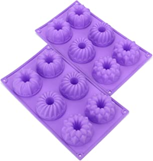 Bekith 6 Cavity Silicone Fancy Bundt Cake, Muffin Cups, Coffee Cake, Cupcake, Brownie and Cornbread Mold, Set of 2