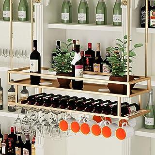 Ybzx Organisateur de Bouteilles Suspendu à l'envers à 2 Niveaux et Rangement de Verres à Pied Wine Enthusiast Hauteur de f...