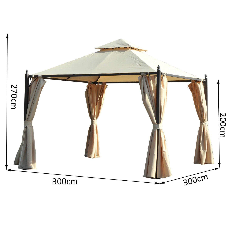 Outsunny – Pérgola de jardín - Impermeable - Medidas 3 x 3 mt con 4 paneles laterales - Color beige: Amazon.es: Jardín