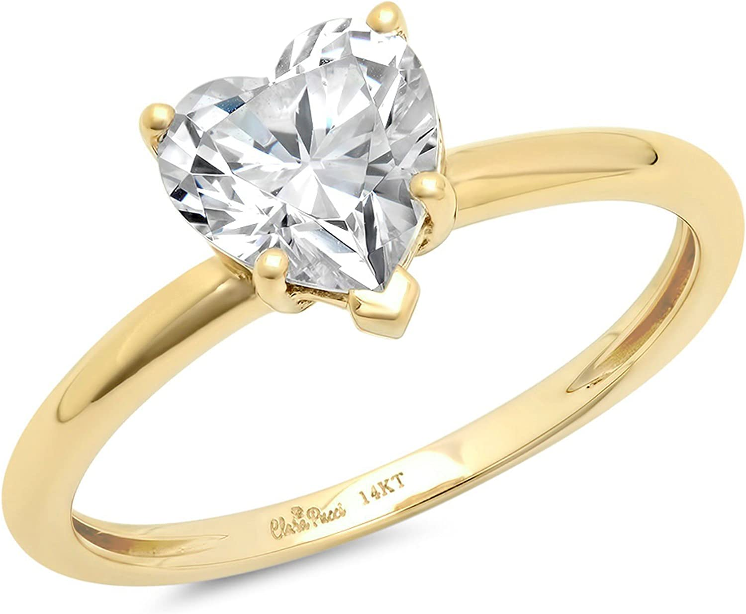 1.9ct Brilliant Heart Cut Solitaire Genuine Lab Created White Sapphire Ideal VVS1 D 5-Prong Engagement Wedding Bridal Promise Anniversary Ring Solid 14k Yellow Gold for Women