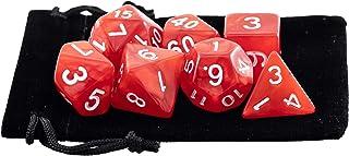 Kit 7 Dados RPG de Mesa D&D Opaco Perolado D4 D6 D8 D10 D10% D12 D20 Cor VERMELHO + 1 Bolsa