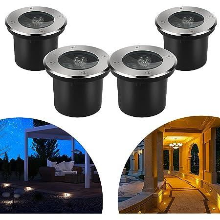 CPROSP 4pcs 3W Spot LED Encastrable Exterieur Rond LED Blanc Chaud Éclairage de Chemin Jardin Éclairage Encastré pour Sentier Pont Patio Jardin Paysage