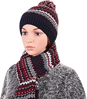 VBIGER Warm Winter Knit Hat and Scarf Set, 2-Pieces Winter Knitted Set for Men and Women