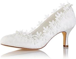 d7eb64c0daa80 Emily Bridal Chaussures de Mariage Vintage Ivoire Ronde Toe Perles Fleurs  Kitten Talon Chaussures de Mariée