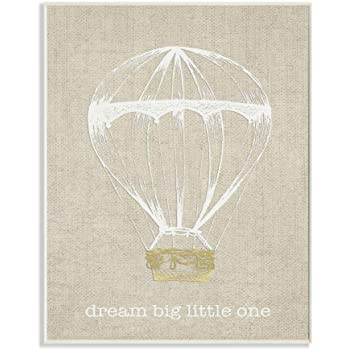 Proudly Made in USA 16 x 1.5 x 20 Stupell Home D/écor Dream Big Little One Hot Air Balloon Teal Stretched Canvas Wall Art