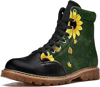 LORVIES Beau Tournesol Lumineux sur Fond Vert Bottes d'hiver Chaussures Montantes en Toile à Lacets pour Hommes