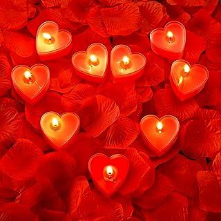 9 Paquetes Velas en Formas de Corazón Vela de Amor Romántico Velas Candelita con 200 Piezas Pétalos de Rosa de Seda Pétalo...