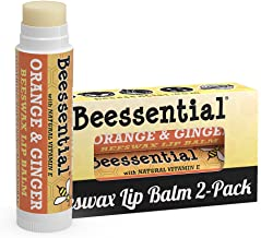 Beessential All Natural Orange Ginger Lip Balm 2 pack - Heals and Prevents Dry and Chapped Lips – Great for Men, Women, and Children – Moisturizing Beeswax, Coconut, Shea and Cupuacu Butter
