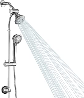 HOMELODY Shower System Chrome Shower set, Liftable Handheld Shower and Shower Head with 5 Functions, Dual Shower Heads 60 Stainless Steel Hose and 4+4 inch Shower Area