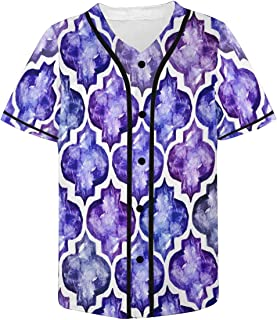 Moroccan Style Tiles Inspired Pattern Mens Baseball Button Down Jersey