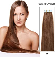20 inch Skin Weft Tape in Straight Human Hair Extensions Double Sided Tape Remy Hair 20pcs 50g/pack (#6) Chestnut Brown …