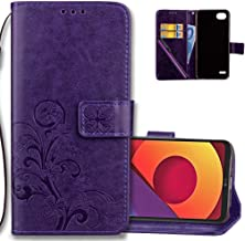 LG Q6 Wallet Case Leather COTDINFORCA Premium PU Embossed Design Magnetic Closure Protective Cover with Card Slots for LG G6 Mini/LG Q6/LG Q6 Plus/LG Q6+. Luck Clover Purple
