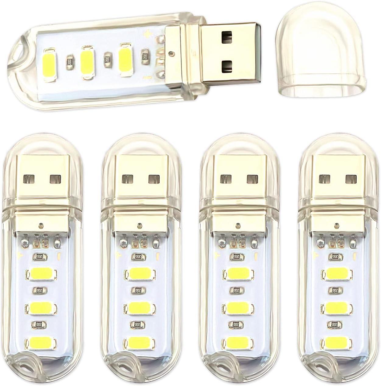 V Telesky 5 Pack USB Reading Light,LED Protable Night Light ,USB Shape 3 LED Light