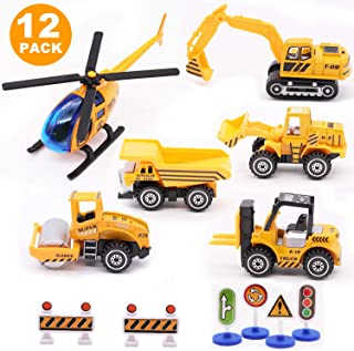 Alloy Construction Engineering Vehicle Toys set 12 PACK Big forklift,Single drum roller,Stacker/Crane,Helicopter,Excavator,Heavy Duty Truck, Construction Traffic Sign Mini Toy Set for Kids Boys